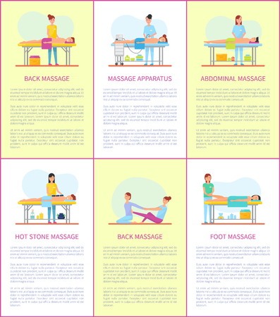 Back and massage apparatus tool for body skincare and treatment. Posters set with text sample, hot stones techniques and foot abdominal therapy vector