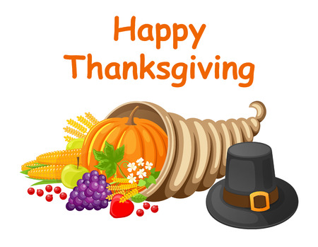 Happy Thanksgiving Day Poster with Food Vector