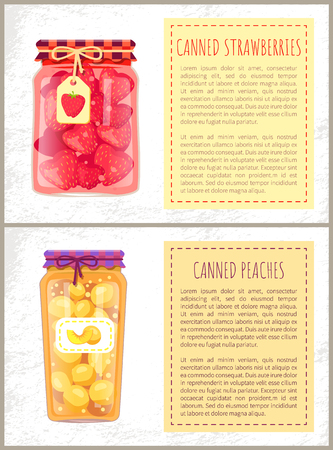 Canned strawberries and peaches jam or sweet compote in glass jar posters set. Homemade berries and summer fruits conservation flat illustration.