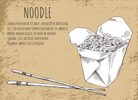 Noodles asian food poster with monochrome sketch outline and informational text. Fast food in package served with chopsticks, vector illustration