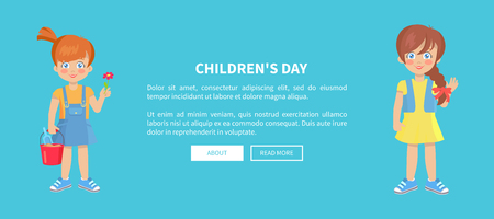 Childrens day web banner with playful girls isolated on blue background. Happy kindergarten kid with basket full of sand, vector illustration Foto de archivo - 127385876