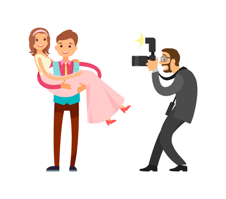 Romantic couple just married groom and bride on wedding photo session made by professional photographer. Happy newlyweds, husband holding wife on hands vector
