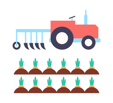 Agrimotor with plough farming transport automobile machinery. Carrots growing in ground. Agriculture plant production veggies set isolated vector icons
