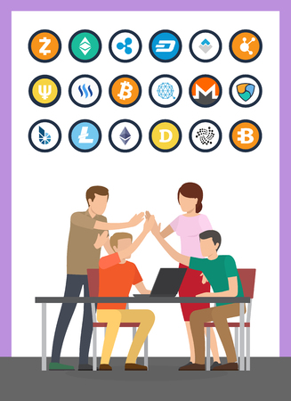 Bitcoin currency and successful teamwork set vector. Isolated icons of cryptocurrencies types, litecoin and dash, bitshare monero bitcoindark ether