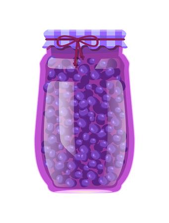 Preserved Blueberries or Blackberries in Glass Jar Illustration