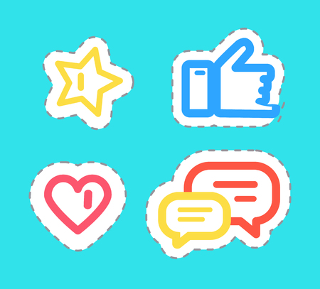 Like and Thumb Up Stickers Set Isolated Vector