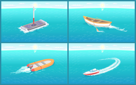 Water transport, various kinds of ships and vessels set vector. Wooden rowing boat, motor ship and platform for rocket launching. Transportation ways