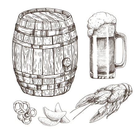 Snack food for beer and wooden alcohol storage isolated on white drawing, vector illustration of oak cask with metal elements and glass of foamy ale