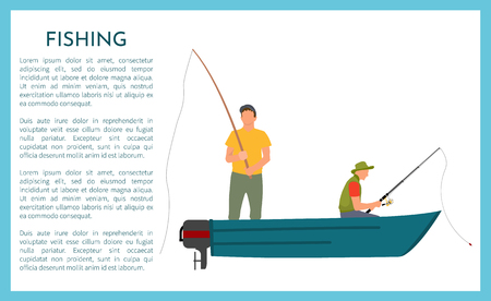 Fishing fisherman with rod in boat vector illustration. Sitting and standing fisher in motorboat in sportswear with fish-rod and spinning, sport theme