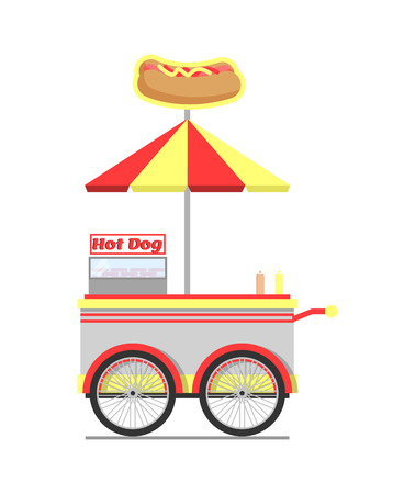 Hot dog cart for street food vector illustration, wagon with striped umbrella and bun and sausage icon on it, image of mobile shop fast snacks preparing isolated Vettoriali