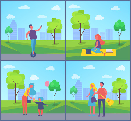 Scooter hoverboard riding in city park vector. Freelance woman sitting on blanket with books, laptop and cup of coffee. Family and couple on town road