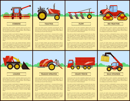 Tractor and combine set poster with text. Plow and loader, trailed sprayer and grain truck. Bale stacker, baler with hay, dry grass compression vector Illustration