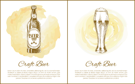 Craft beer objects set hand drawn vector sketches. Full tumbler with flowing foam and glass bottle isolated on beige stain vintage icons for bar menu 向量圖像
