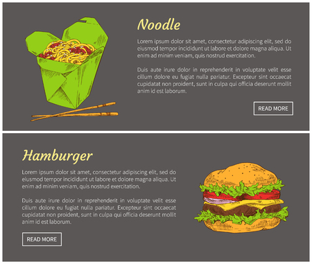 Hamburger and noodles fast food set. American and Japanese cuisine. Meal served with chopsticks, burger with vegetables and meat vector illustration