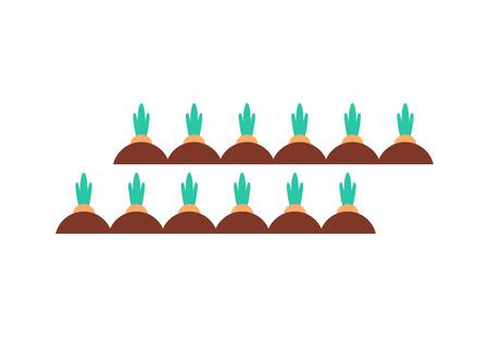 Gartenbetten mit Wurzeln Vektor Icon Cartoon-Stil. Grundstücke mit Karotten, Wurzelgemüse, die in Bereichen wachsen, handgezeichnetes isoliertes einfaches buntes Emblem Vektorgrafik