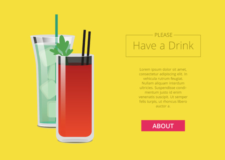 Please have a drink promo web poster with cocktails bloody mary and mojito, filled with ice, straw inside, vector illustration isolated on yellow