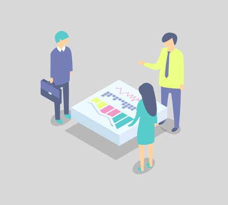 Business partners discussing project at table cartoon vector banner. Men and woman in suits with suitcase reviewing issues, diagram and bar chart