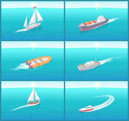 Water transport sailing boat, rowing wooden ship, variety of transportation means vector. Traveling by sea and ocean voyage by cruise liner shipment