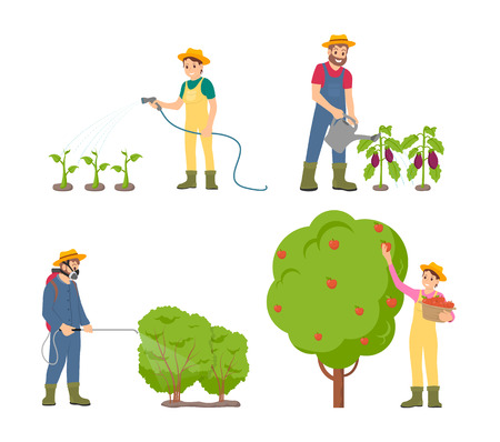 Farmers watering plants with can and hose isolated icons vector. Fruit tree with ripe apples, man spraying bushes with pesticides. Harvesting season