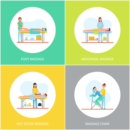 Foot and abdominal back massage icons set vector. Legs and back care with hot stones method, chair for massaging body. Masseuses and happy clients