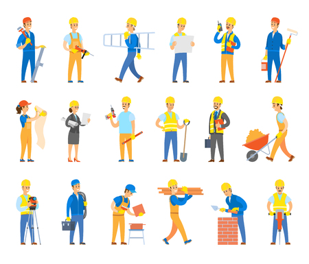 Bauherren und Ingenieure mit Werkzeugen, Ziegeln oder Fliesen. Arbeiter in Bauarbeiterhelmen halten Leiter, Spaten in der Nähe der Schubkarre, Werkzeugsatz, Bohrvektorillustrationen.