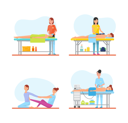 Massage treatment and care to patients and clients on table. Isolated icons set of working masseuses with hot stones, aroma candles and lotions vector Illustration