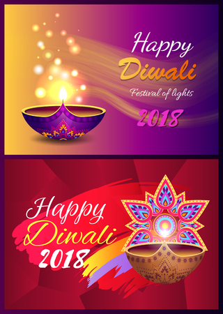 Happy Diwali Set of Posters Vector Illustration