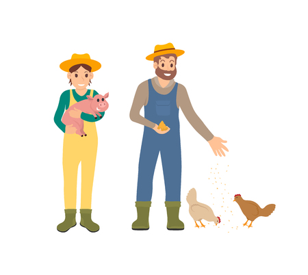 Farmer and pig, man with hens feeding chickens with wheat seeds. Farming people taking care of mammals domestic animals. Husbandry working male vector