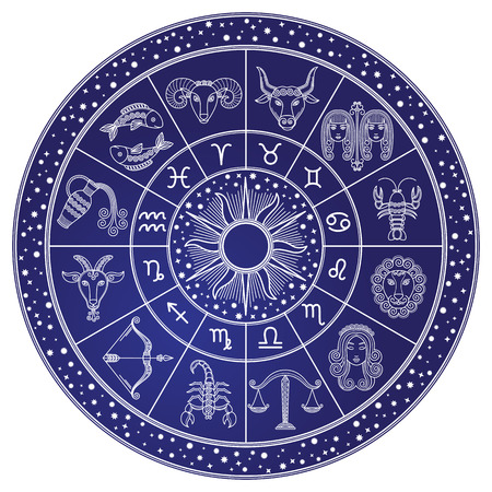 Horoscope and Astrology Circle, Zodiac Vector Banque d'images - 112716970