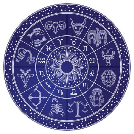 Horoskop i koło astrologii, wektor zodiaku
