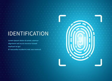 Identification fingerprint poster with text sample vector. Verification and validation scanning. Screen with prints for people to access data, push button