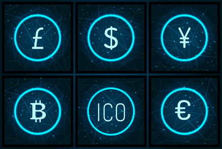 Bitcoin yen and pound sterling set icons vector. Icon and euro European currency, digital cryptocurrency finance and money. American dollar sign