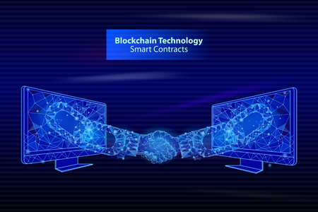 Blockchain technology smart contacts poster vector. Screens people handshake, bitcoin banking and deal of businessmen. Digital banking and agreement