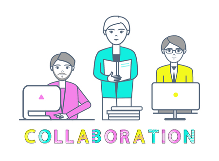 Collaboration Males Working with Laptops Vector Ilustrace