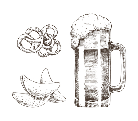 Frothy alcohol beverage in glass and tasty snack vector illustration, pencil drawing of roasted chips and pretzels set isolated on white background Archivio Fotografico - 127385924
