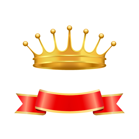 Golden heraldic crown with seven pearls or beads on jags and wavy ribbon below isolated. Vector baron coronet or monarch headpiece as power symbol.
