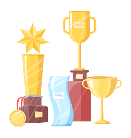 Awards set of different shape vector illustration. Trophy cups and medal, star statue on pedestal and irregular glass figure, drawings with labels