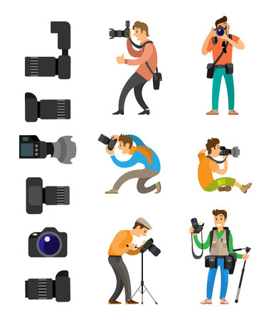 Set of professional photographing gear with flash lights, removable lens isolated on white vector icons. Photographers with digital camera taking photo