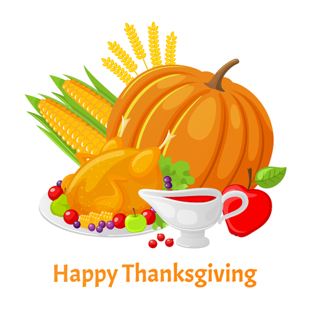 Happy Thanksgiving poster with text pumpkin vector. Berries sauce in pot, turkey meat seasoned with sweet ingredients. Corn and ripe apple ears of wheat Illustration