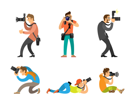 Photographers or paparazzi taking photo with modern digital cameras from all angles. Journalists or reporters making pictures vector illustrations. Imagens - 127385931