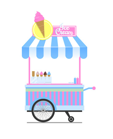 Ice cream wagon sketch isolated on white backdrop, vector illustration of cute mobile shop for frozen sweets, striped top and two wheels pretty cart
