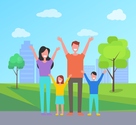 Happy family spend time together. Mother, father, daughter and son rise hands up greeting everyone. Smiling citizens in city park with buildings, vector Illustration