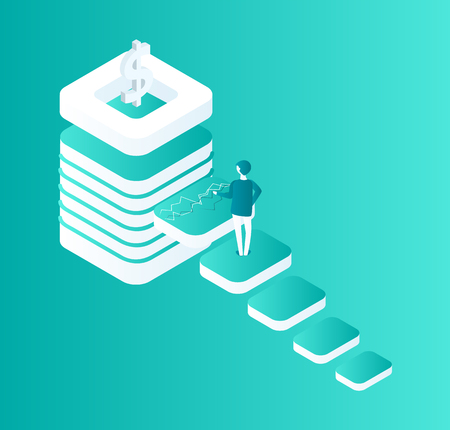 Blockchain isolated isometric icon, man walking up on steps. Way to success, 3d of male leader and cryptocurrency with digital info business vector
