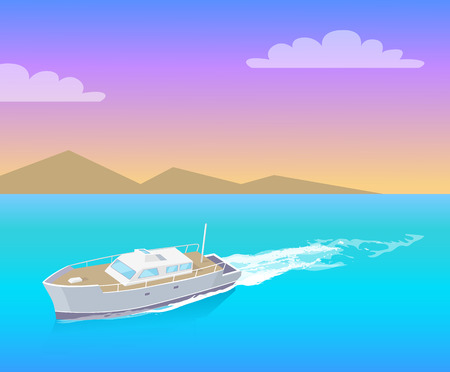 Coast guard transportation vehicle sailing in blue water vector on backdrop of mountains. Guarding transport boat in deep ocean, rescue emergency sailboat