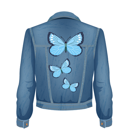 Jeans jacket with patches of blue flying butterflies. Clothes shirt for women clothing fashion. Denim material with winged insect vector illustration Çizim