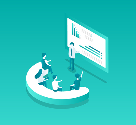 Blockchain seminar meeting of leaders and workers on mining plantation, information about bitcoin on screen. Isolated isometric icons 3d set, vector Stock Illustratie