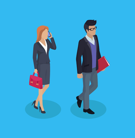 Businessman and consultant manager talking on phone with client and carrying red briefcase. Man and woman with business documents papers, vector people