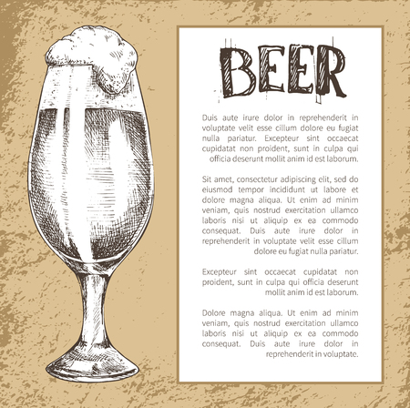 Advertising vintage poster in sketch style with text in frame for brew house. Hand drawn full tulip beer glass with spilling foam vector illustration. Illustration