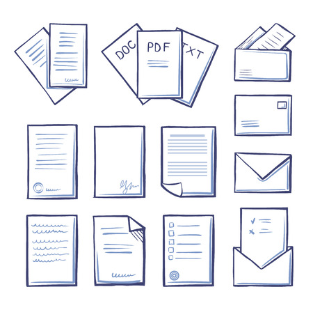 Office pdf and doc, txt files isolated icons monochrome outline set vector. Massages and correspondence, letters with blanks and votes with signature