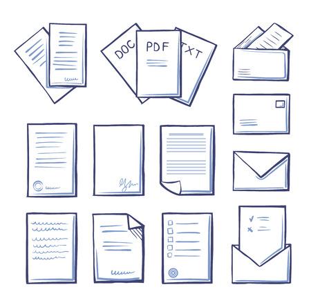 Office pdf et doc, fichiers txt icônes isolées contour monochrome set vector. Massages et correspondance, lettres en blanc et votes avec signature